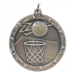 1 3/4 inch Basketball Shooting Star Medal with Neck Ribbon