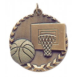 1 3/4 inch Basketball Millennium Medal with Neck Ribbon