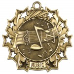 2 1/4 inch Music Ten Star Medal with Neck Ribbon