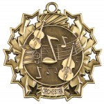 2 1/4 inch Orchestra Ten Star Medal with Neck Ribbon