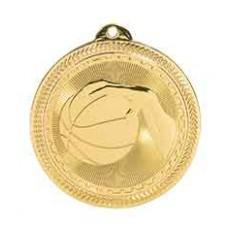Basketball BriteLazer Medal with Neck Ribbon