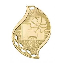 Basketball Flame Medal with Neck Ribbon