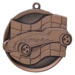 "2 1/4"" Pinewood Derby Flame Car Racing Flag Medal"