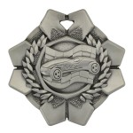 "2"" Pinewood Derby Wreath Car Racing Flag Medal"