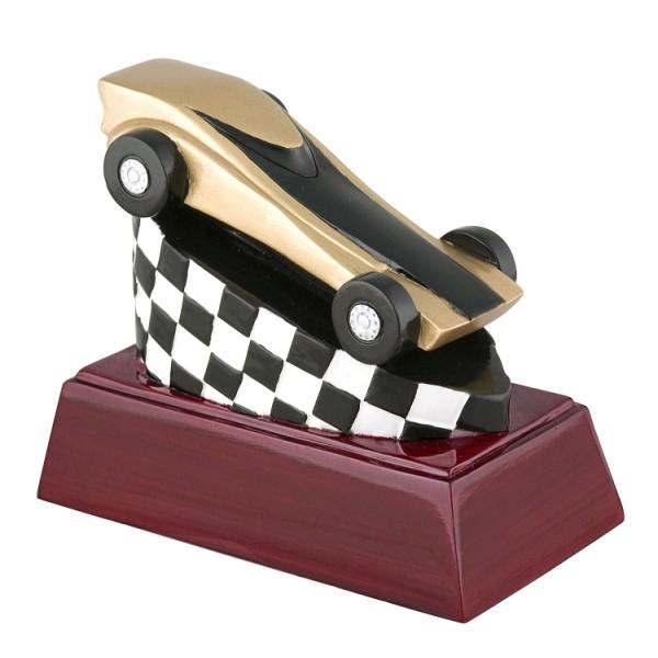 4″ Pinewood Derby Car Checkered Flag Resin Award