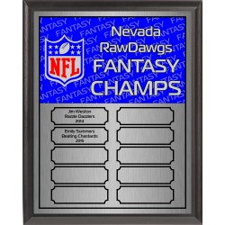 Red and Blue Fantasy Football Perpetual Plaque