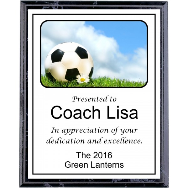 Ball and Flower Soccer Plaque
