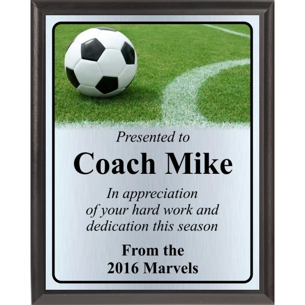 Ball on Soccer Field Line Plaque