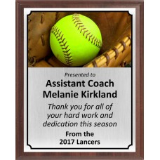 Ball In Glove Softball Plaque