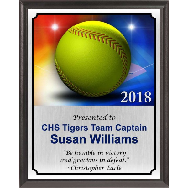 Colorful Softball Plaque