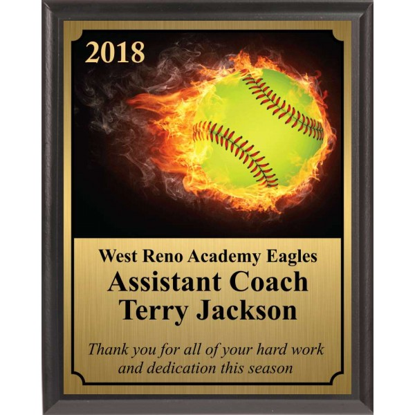 Flaming Softball Plaque