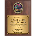 Economy Heat Transfer Team Mom Plaque with Red Roses Medallion