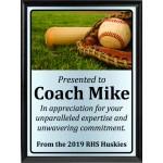 Ball in Glove on Grass Baseball Plaque