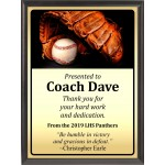 Ball in Glove Baseball Plaque, Gold