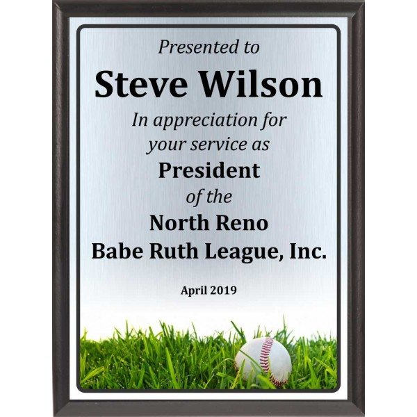 Ball in Grass Baseball Plaque