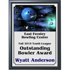 Ball and Pins Galaxy Bowling Plaque
