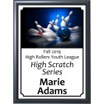 Graphic Blue Bowling Ball Plaque