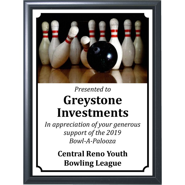Black Bowling Ball in Lane Plaque