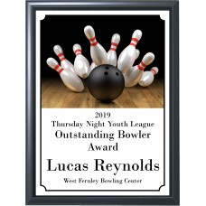 Black Ball and Pins Bowling Plaque