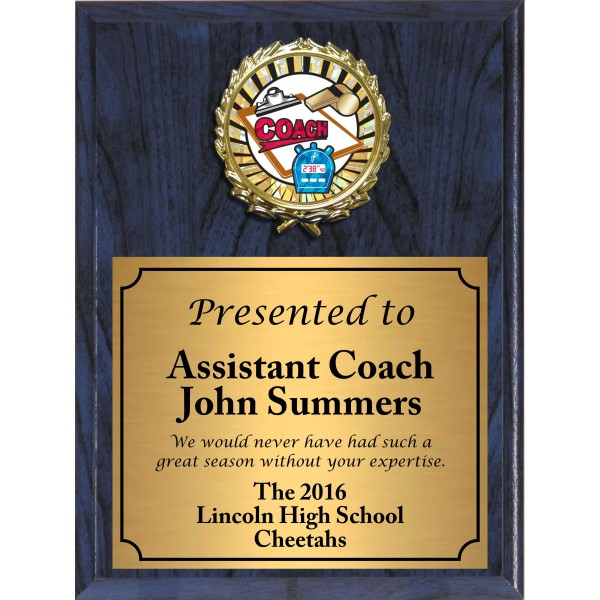 Economy Heat Transfer Coach Plaque with Sunburst Foil Coach Medallion