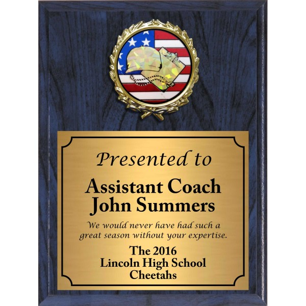Economy Heat Transfer Coach Plaque with Flag Hologram Coach Medallion