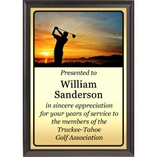 Sunset Swing Golf Plaque
