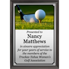 Club and Ball on Tee Golf Plaque
