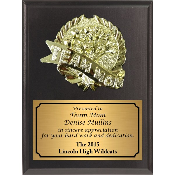 Economy Heat Transfer Team Mom Plaque with Gold Plate