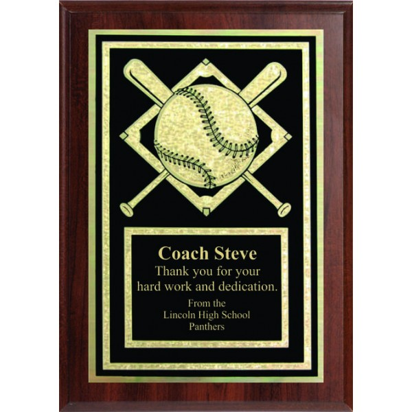 5x7 Economy Plaque with Engraved Baseball Plaque Plate