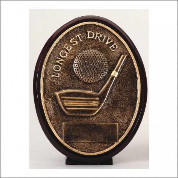 Oval Longest Drive Golf Resin Trophy