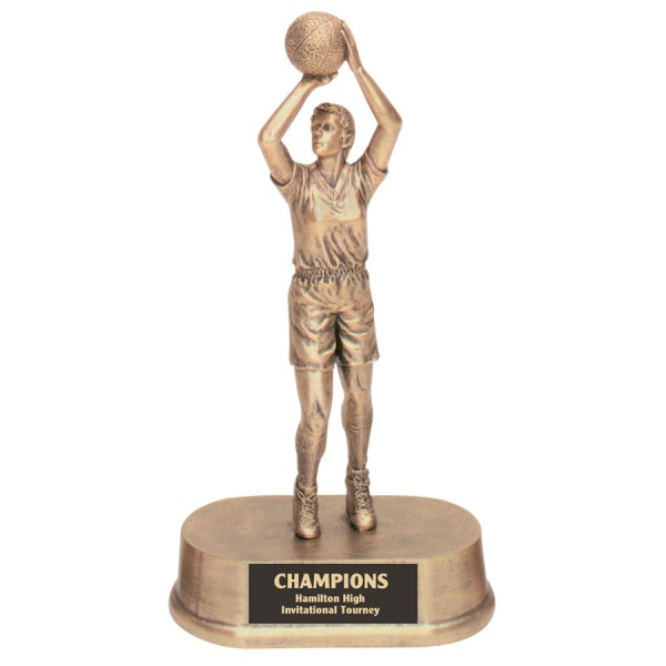 9 1/4 inch Antique Gold Female Basketball Resin