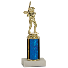 "Economy Trophy with White Asian Marble Base and 3"" of Column"