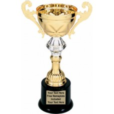 """Gold Metal Cup Trophy on Plastic Base, 8 3/4"""""""