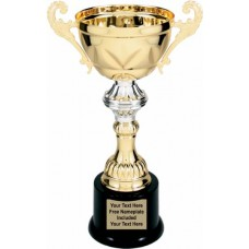 """Gold Metal Cup Trophy on Plastic Base, 10"""""""