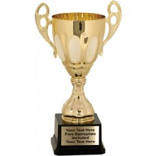 """Gold Metal Cup Trophy on Plastic Base, 11"""""""