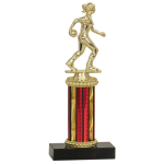 "Economy Trophy with Black Asian Marble Base and 3"" of Column"