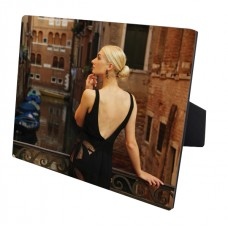 Glossy Rectangle Wood Photo Panel With Easel