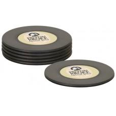 6 Pc Matte Black Plastic Coaster Set