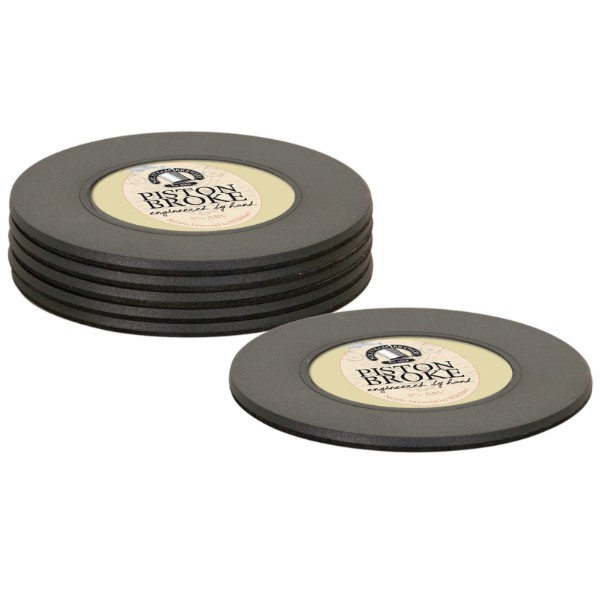 6 Pc Matte Black Plastic Coaster Set