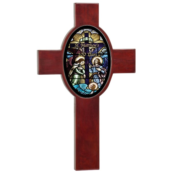 Rosewood Piano Finish Cross With Ceramic Oval Photo Tile