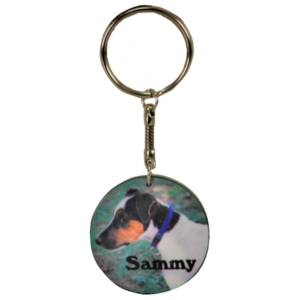 Matte Finish Round Key Chain With Black Edge