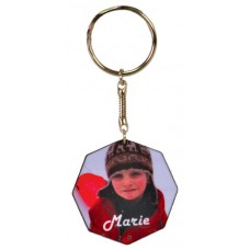 Matte Finish Octagon Key Chain With Black Edge