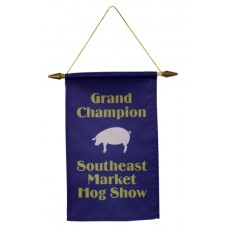 Satin Banner With Wood Dowel, Tips And Hanging Cord