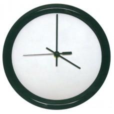 Round Gloss White Hardboard Clock With Black Frame