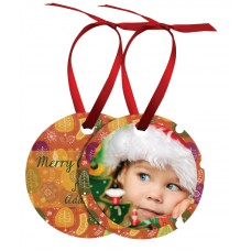 Round Metal Ornament With Red Ribbon