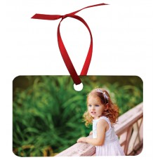 Rectangle (LANDSCAPE) Metal Ornament With Red Ribbon