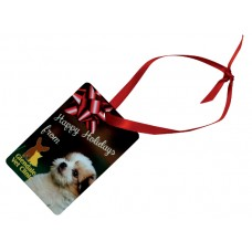 Rectangle (PORTRAIT) Metal Ornament With Red Ribbon