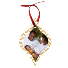 Tapered Metal Ornament With Red Ribbon