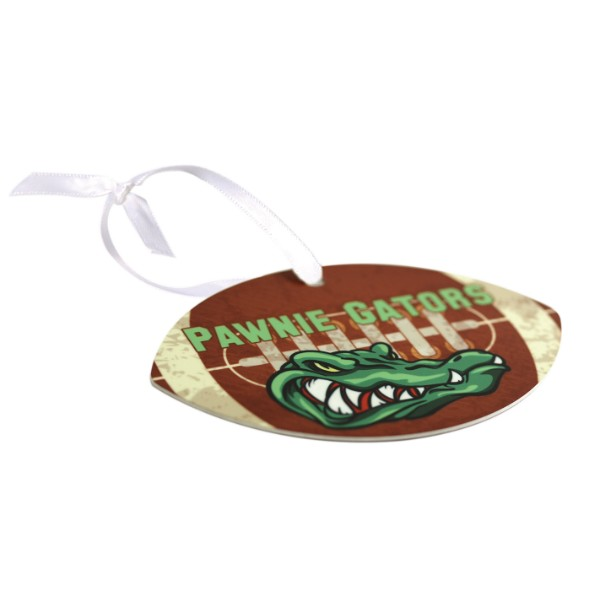 Football Metal Ornament With Ribbon