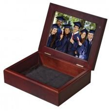 Mahogany Keepsake Box Holds Photo On Both Sides Of Lid
